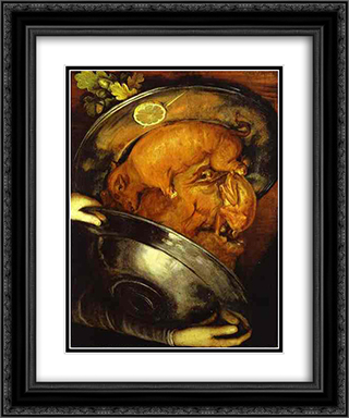 The Cook 20x24 Black or Gold Ornate Framed and Double Matted Art Print by Giuseppe Arcimboldo