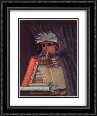 The Librarian 20x24 Black or Gold Ornate Framed and Double Matted Art Print by Giuseppe Arcimboldo