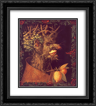 Winter 20x22 Black or Gold Ornate Framed and Double Matted Art Print by Giuseppe Arcimboldo