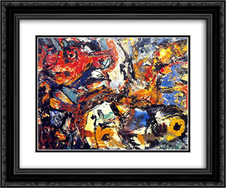 Untitled 24x20 Black or Gold Ornate Framed and Double Matted Art Print by Giuseppe Pinot Gallizio