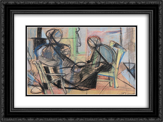 Figure in un interno 24x18 Black or Gold Ornate Framed and Double Matted Art Print by Giuseppe Santomaso