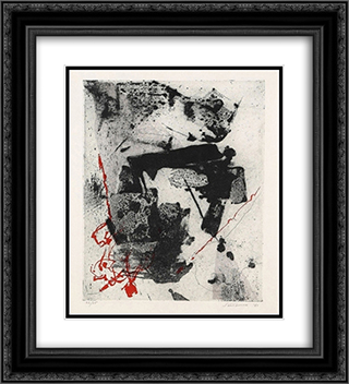Komposition 20x22 Black or Gold Ornate Framed and Double Matted Art Print by Giuseppe Santomaso