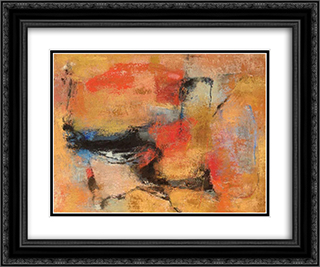 Sera Romana 24x20 Black or Gold Ornate Framed and Double Matted Art Print by Giuseppe Santomaso