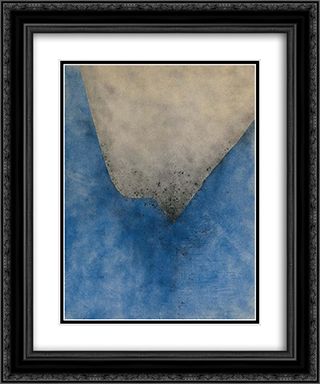 Spazio azzurro grigio 20x24 Black or Gold Ornate Framed and Double Matted Art Print by Giuseppe Santomaso