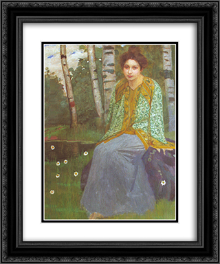 By the lake 20x24 Black or Gold Ornate Framed and Double Matted Art Print by Goldstein Grigoriy