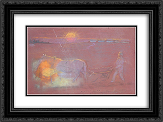 Morning plowing 24x18 Black or Gold Ornate Framed and Double Matted Art Print by Goldstein Grigoriy