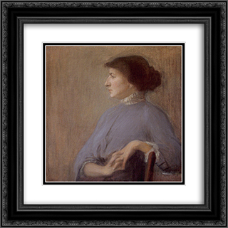 Portrait of a Woman 20x20 Black or Gold Ornate Framed and Double Matted Art Print by Goldstein Grigoriy