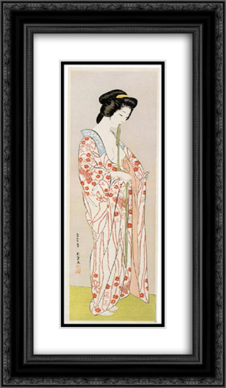 Beauty in Long Undergarment 14x24 Black or Gold Ornate Framed and Double Matted Art Print by Goyo Hashiguchi