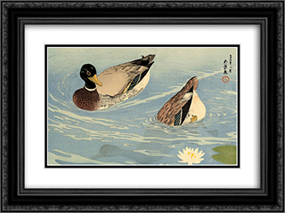 Ducks 24x18 Black or Gold Ornate Framed and Double Matted Art Print by Goyo Hashiguchi