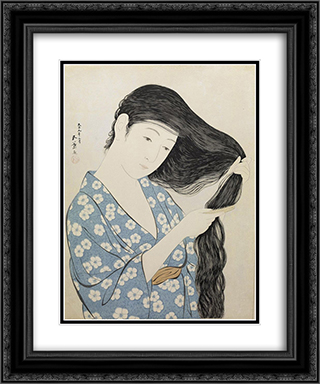 Kamisuki (Combing the hair) 20x24 Black or Gold Ornate Framed and Double Matted Art Print by Goyo Hashiguchi