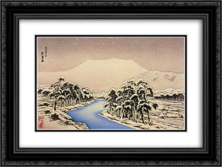 Mt. Ibuki in Snow 24x18 Black or Gold Ornate Framed and Double Matted Art Print by Goyo Hashiguchi