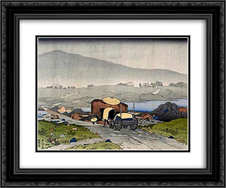 Rain at Yabakei 24x20 Black or Gold Ornate Framed and Double Matted Art Print by Goyo Hashiguchi