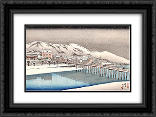 Sanjo Bridge, Kyoto 24x18 Black or Gold Ornate Framed and Double Matted Art Print by Goyo Hashiguchi