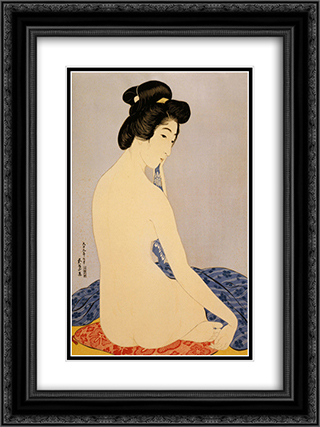 Woman After Bath 18x24 Black or Gold Ornate Framed and Double Matted Art Print by Goyo Hashiguchi