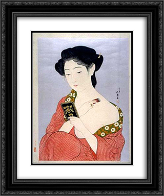 Woman Applying Powder 20x24 Black or Gold Ornate Framed and Double Matted Art Print by Goyo Hashiguchi