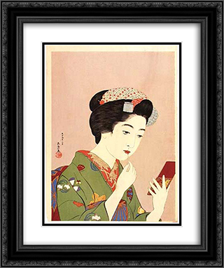 Woman Holding Lipstick 20x24 Black or Gold Ornate Framed and Double Matted Art Print by Goyo Hashiguchi