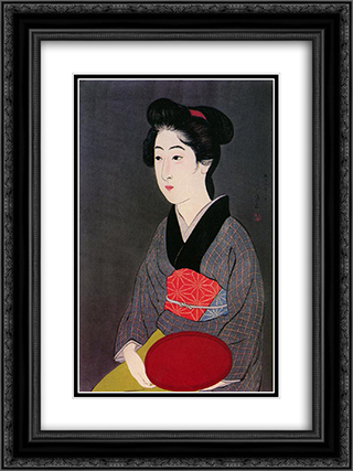 Woman Holding Tray 18x24 Black or Gold Ornate Framed and Double Matted Art Print by Goyo Hashiguchi