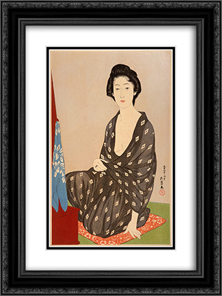 Woman in Summer Garment 18x24 Black or Gold Ornate Framed and Double Matted Art Print by Goyo Hashiguchi