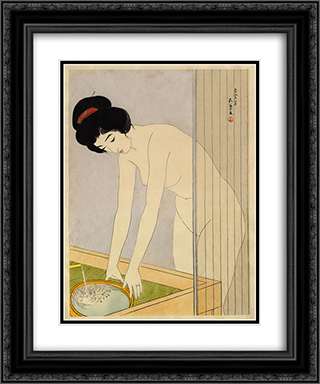 Woman Washing Her Face 20x24 Black or Gold Ornate Framed and Double Matted Art Print by Goyo Hashiguchi