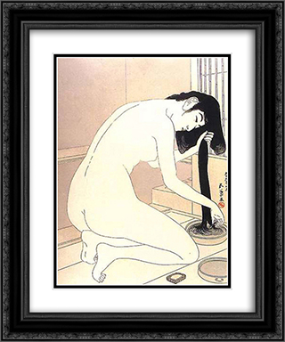 Woman Washing Her Hair 20x24 Black or Gold Ornate Framed and Double Matted Art Print by Goyo Hashiguchi