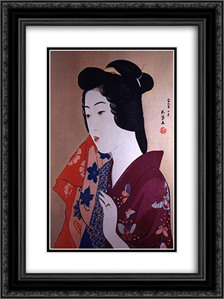 Woman With a Hand Towel 18x24 Black or Gold Ornate Framed and Double Matted Art Print by Goyo Hashiguchi