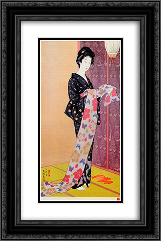 Young Woman in Summer Kimono 16x24 Black or Gold Ornate Framed and Double Matted Art Print by Goyo Hashiguchi