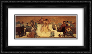 A lust for home 24x14 Black or Gold Ornate Framed and Double Matted Art Print by Grant Wood