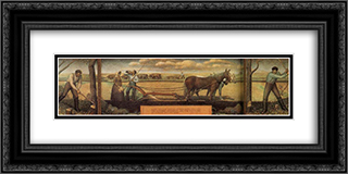 A short break from pasture work 24x12 Black or Gold Ornate Framed and Double Matted Art Print by Grant Wood