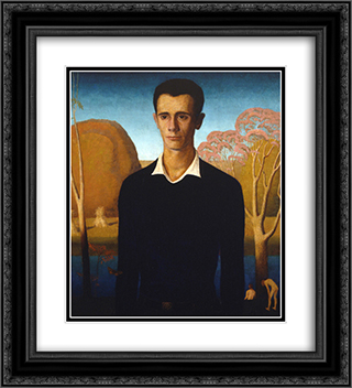 Arnold Comes of Age 20x22 Black or Gold Ornate Framed and Double Matted Art Print by Grant Wood
