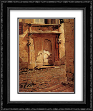 At the Gate 20x24 Black or Gold Ornate Framed and Double Matted Art Print by Grant Wood