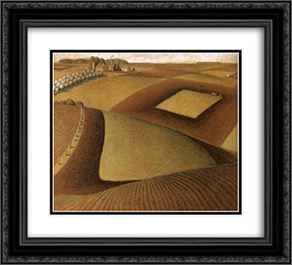 Break ground 22x20 Black or Gold Ornate Framed and Double Matted Art Print by Grant Wood
