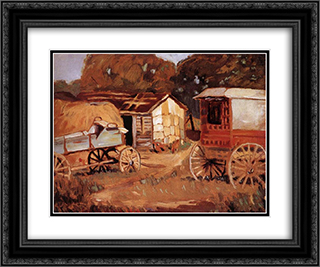 Carriage Business 24x20 Black or Gold Ornate Framed and Double Matted Art Print by Grant Wood
