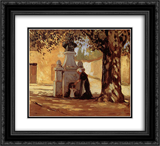 Conduit 22x20 Black or Gold Ornate Framed and Double Matted Art Print by Grant Wood