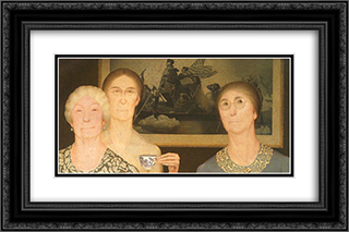 Daughters of Revolution 24x16 Black or Gold Ornate Framed and Double Matted Art Print by Grant Wood