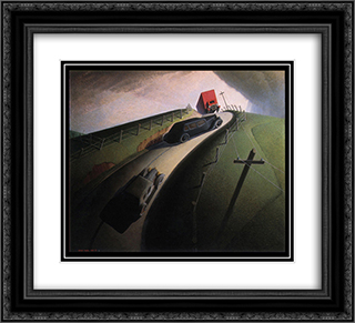 Death on the Ridge Road 22x20 Black or Gold Ornate Framed and Double Matted Art Print by Grant Wood