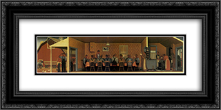 Dinner for Threshers 24x12 Black or Gold Ornate Framed and Double Matted Art Print by Grant Wood