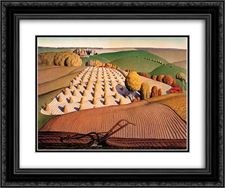 Fall Plowing 24x20 Black or Gold Ornate Framed and Double Matted Art Print by Grant Wood