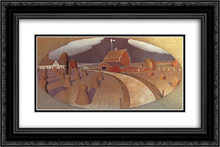 Farm View 24x16 Black or Gold Ornate Framed and Double Matted Art Print by Grant Wood