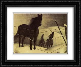 February 24x20 Black or Gold Ornate Framed and Double Matted Art Print by Grant Wood
