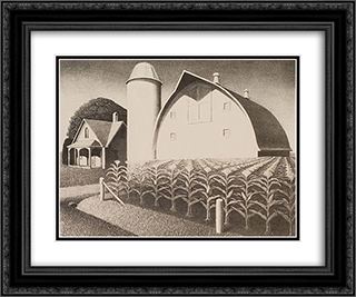 Fertility 24x20 Black or Gold Ornate Framed and Double Matted Art Print by Grant Wood