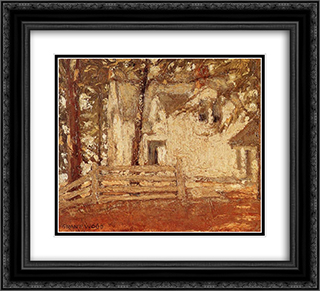 Grandmother's house inhabit a forest 22x20 Black or Gold Ornate Framed and Double Matted Art Print by Grant Wood