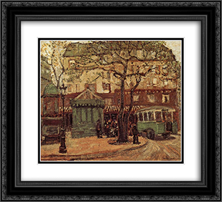 Greenish Bus in Street of Paris 22x20 Black or Gold Ornate Framed and Double Matted Art Print by Grant Wood