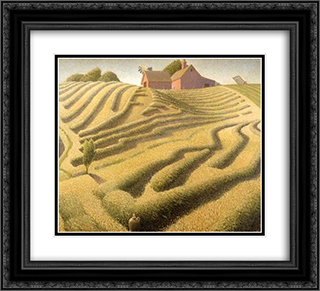 Haying 22x20 Black or Gold Ornate Framed and Double Matted Art Print by Grant Wood