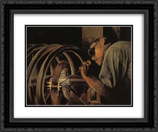 Helix Welder 24x20 Black or Gold Ornate Framed and Double Matted Art Print by Grant Wood