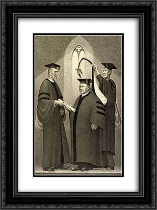Honorary Degree 18x24 Black or Gold Ornate Framed and Double Matted Art Print by Grant Wood