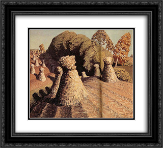 Iowa's corn field 22x20 Black or Gold Ornate Framed and Double Matted Art Print by Grant Wood