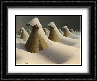 January 24x20 Black or Gold Ornate Framed and Double Matted Art Print by Grant Wood