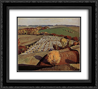 Landscape 22x20 Black or Gold Ornate Framed and Double Matted Art Print by Grant Wood