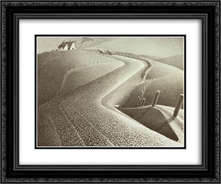 March 24x20 Black or Gold Ornate Framed and Double Matted Art Print by Grant Wood