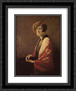 Miss France 20x24 Black or Gold Ornate Framed and Double Matted Art Print by Grant Wood